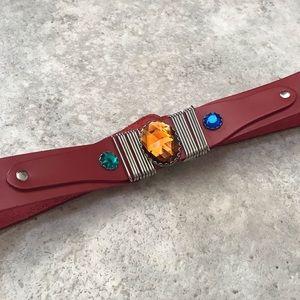 Vintage • Jewel 80s Red Leather Waist Belt